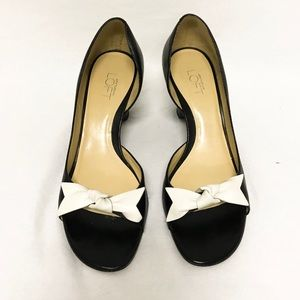 LOFT Black White Bow Platform Open Toe Heels